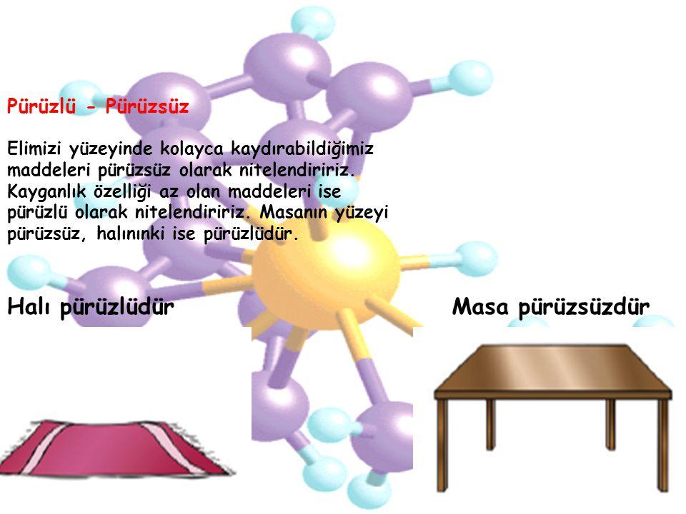 Elimizi yüzeyinde kolayca kaydırabildiğimiz maddeleri pürüzsüz olarak nitelendiririz. Kayganlık özelliği az olan maddeleri ise pürüzlü olarak nitelend