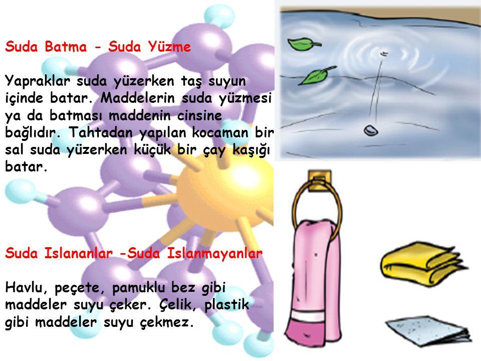 Suda Batma - Suda Yüzme Yapraklar suda yüzerken taş suyun içinde batar. Maddelerin suda yüzmesi ya da batması maddenin cinsine bağlıdır. Tahtadan yapı