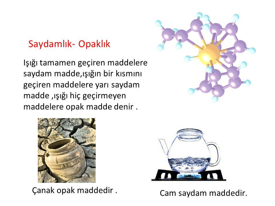 Çanak opak maddedir. Cam saydam maddedir. Saydamlık- Opaklık Işığı tamamen geçiren maddelere saydam madde,ışığın bir kısmını geçiren maddelere yarı sa