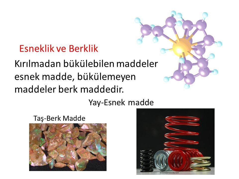 Esneklik ve Berklik Kırılmadan bükülebilen maddeler esnek madde, bükülemeyen maddeler berk maddedir. Yay-Esnek madde Taş-Berk Madde
