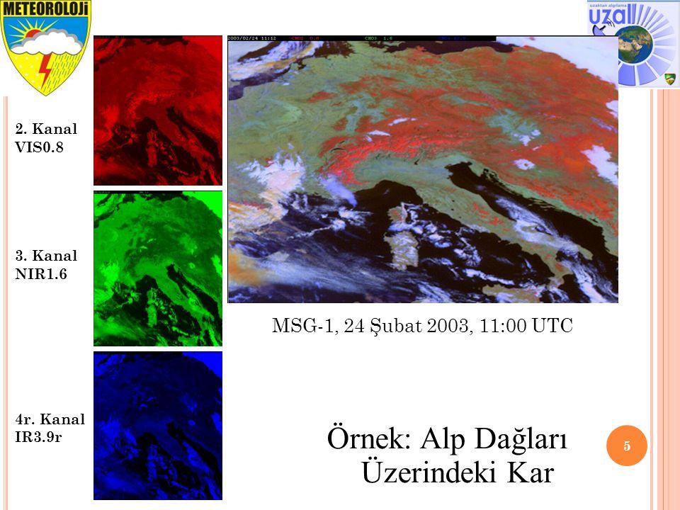 5 2. Kanal VIS0.8 3. Kanal NIR1.6 4r. Kanal IR3.9r Örnek: Alp Dağları Üzerindeki Kar MSG-1, 24 Şubat 2003, 11:00 UTC