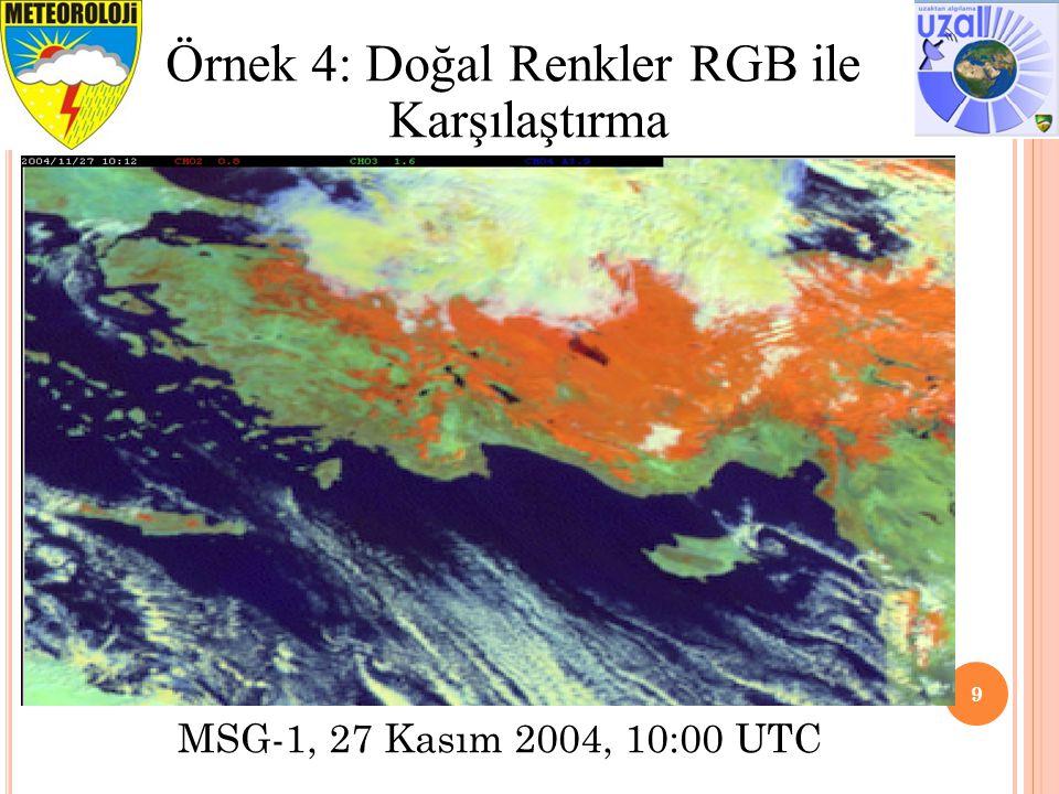 9 Örnek 4: Doğal Renkler RGB ile Karşılaştırma MSG-1, 27 Kasım 2004, 10:00 UTC