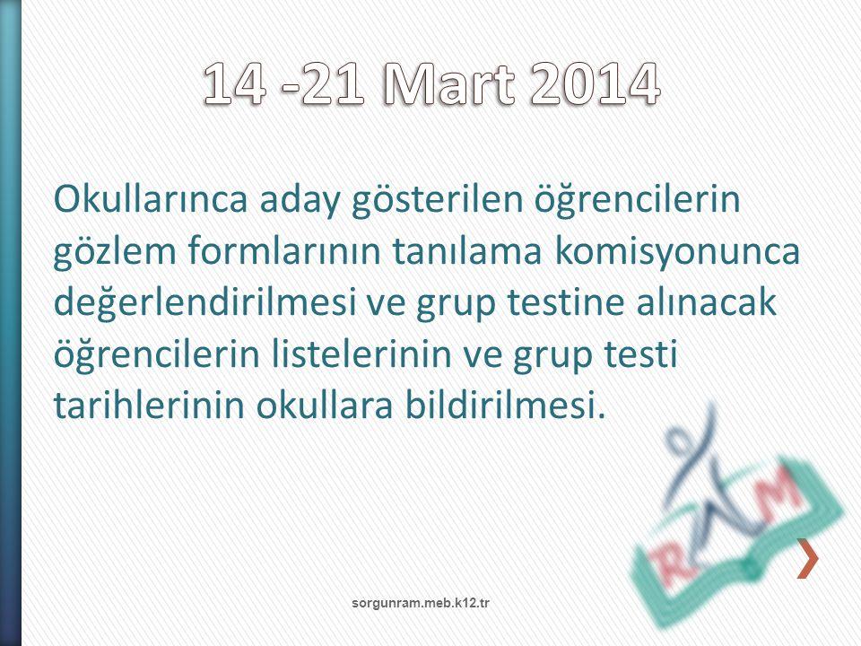 sorgunram.meb.k12.tr Okullarınca aday gösterilen öğrencilerin gözlem formlarının tanılama komisyonunca değerlendirilmesi ve grup testine alınacak öğre