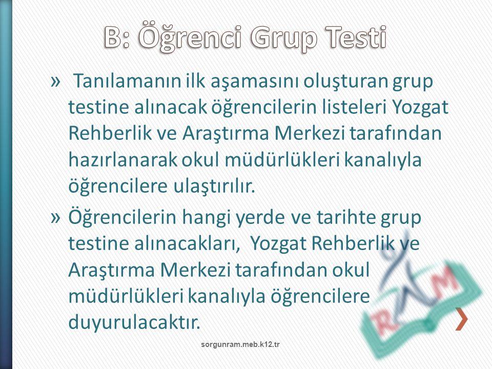» Tanılamanın ilk aşamasını oluşturan grup testine alınacak öğrencilerin listeleri Yozgat Rehberlik ve Araştırma Merkezi tarafından hazırlanarak okul