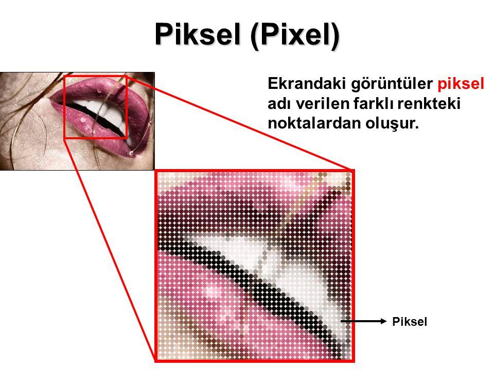 Piksel (Pixel) Ekrandaki görüntüler piksel adı verilen farklı renkteki noktalardan oluşur. Piksel