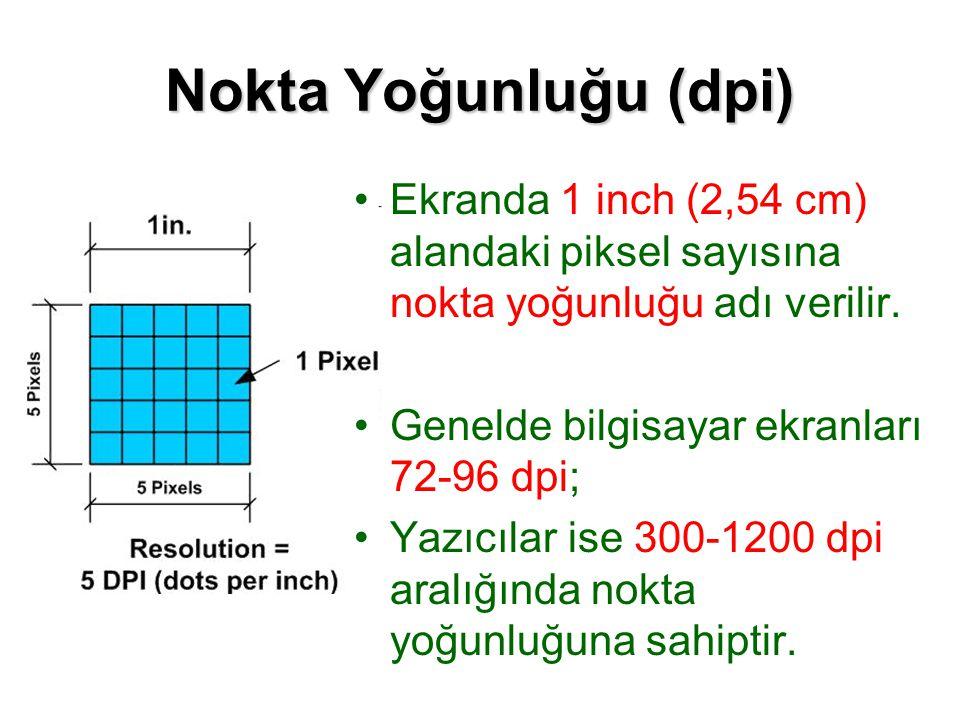 Nokta Yoğunluğu (dpi) Ekranda 1 inch (2,54 cm) alandaki piksel sayısına nokta yoğunluğu adı verilir. Genelde bilgisayar ekranları 72-96 dpi; Yazıcılar