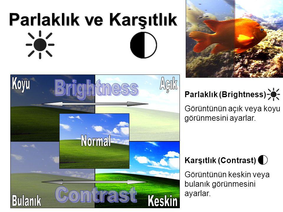 Parlaklık ve Karşıtlık Parlaklık (Brightness) Görüntünün açık veya koyu görünmesini ayarlar. Karşıtlık (Contrast) Görüntünün keskin veya bulanık görün