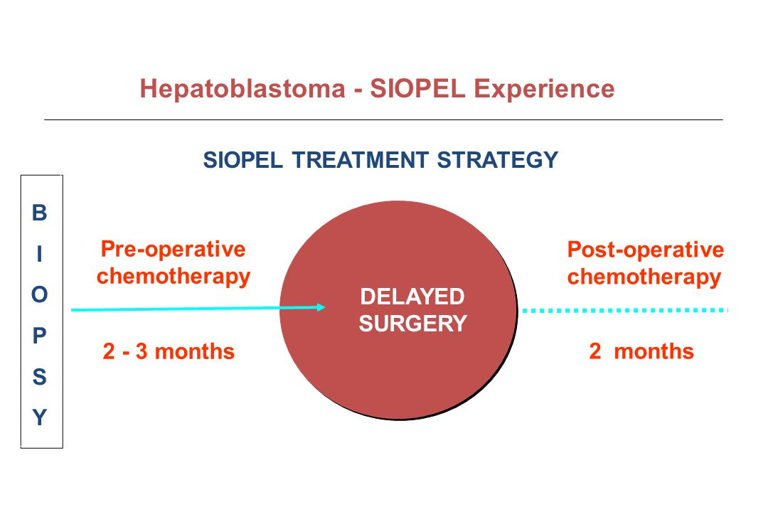 Pre-operative chemotherapy 2 - 3 months Post-operative chemotherapy DELAYED SURGERY BIOPSYBIOPSY 2 months SIOPEL TREATMENT STRATEGY Hepatoblastoma - S