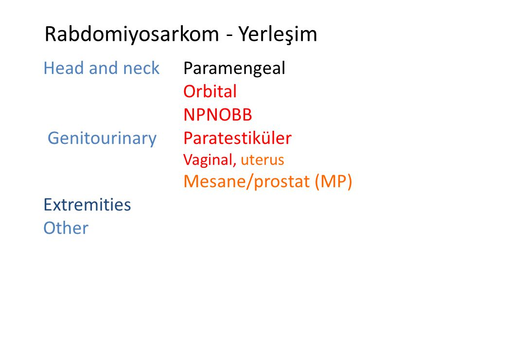Rabdomiyosarkom - Yerleşim Head and neckParamengeal Orbital NPNOBB GenitourinaryParatestiküler Vaginal, uterus Mesane/prostat (MP) Extremities Other