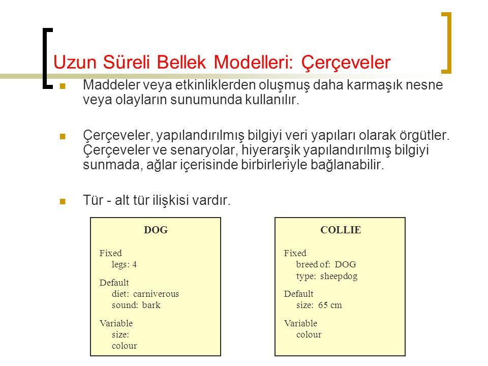 Uzun Süreli Bellek Modelleri: Çerçeveler Maddeler veya etkinliklerden oluşmuş daha karmaşık nesne veya olayların sunumunda kullanılır. Çerçeveler, yap