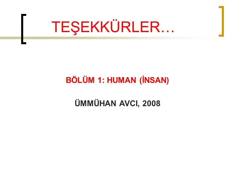 TEŞEKKÜRLER… BÖLÜM 1: HUMAN (İNSAN) ÜMMÜHAN AVCI, 2008