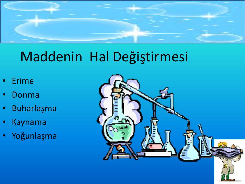 10 Gaz Maddeler Gaz maddelerin belli bir şekilleri yoktur.Bulundukları kabın şeklini alırlar. Belli bir hacimleri yoktur. Bulundukları kabın hacmini a