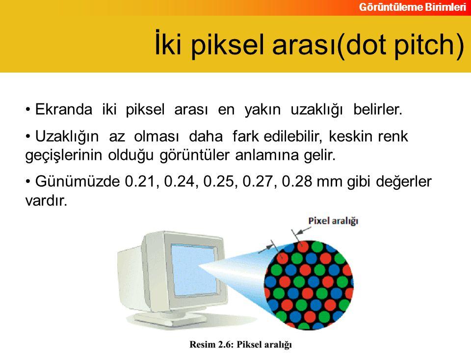 Görüntüleme Birimleri Ekranda iki piksel arası en yakın uzaklığı belirler. Uzaklığın az olması daha fark edilebilir, keskin renk geçişlerinin olduğu g