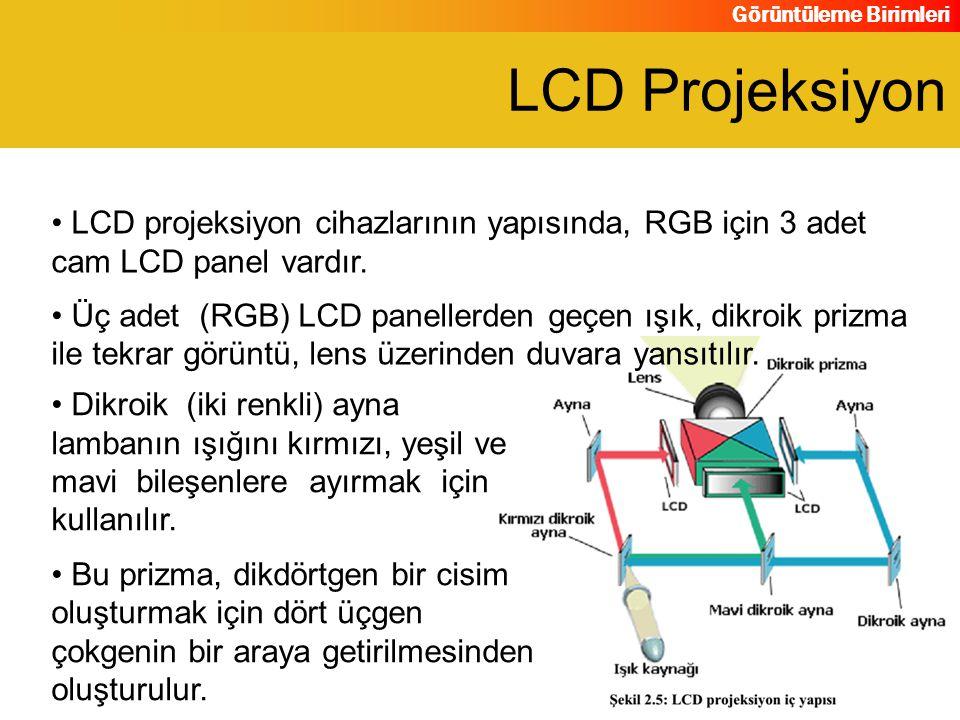 Görüntüleme Birimleri LCD projeksiyon cihazlarının yapısında, RGB için 3 adet cam LCD panel vardır. Üç adet (RGB) LCD panellerden geçen ışık, dikroik