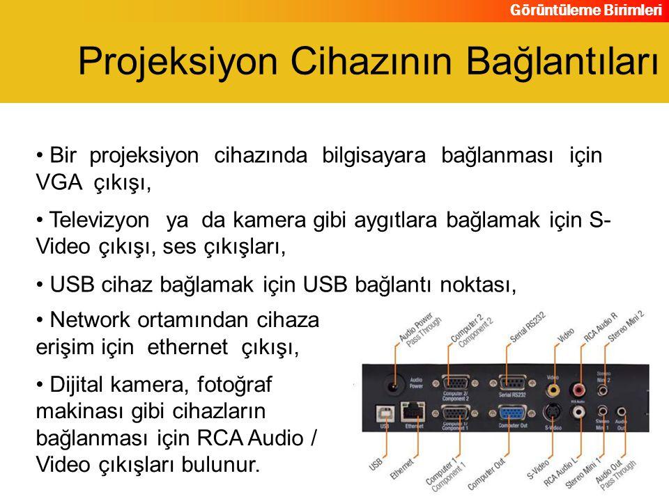 Görüntüleme Birimleri Bir projeksiyon cihazında bilgisayara bağlanması için VGA çıkışı, Televizyon ya da kamera gibi aygıtlara bağlamak için S- Video