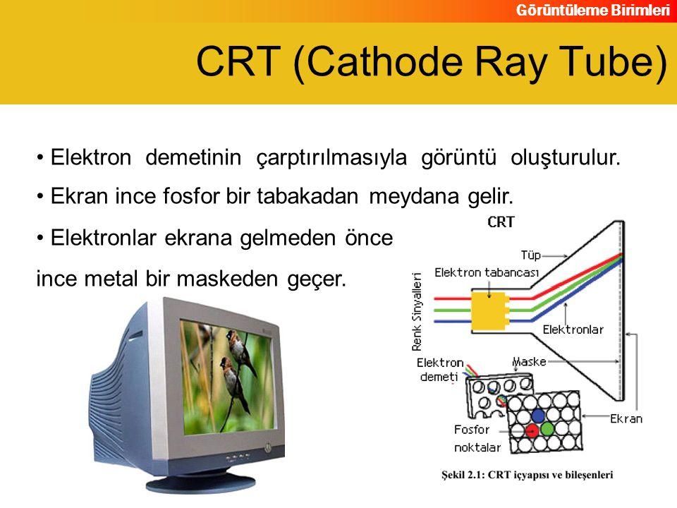 Görüntüleme Birimleri Elektron demetinin çarptırılmasıyla görüntü oluşturulur. Ekran ince fosfor bir tabakadan meydana gelir. CRT (Cathode Ray Tube) E