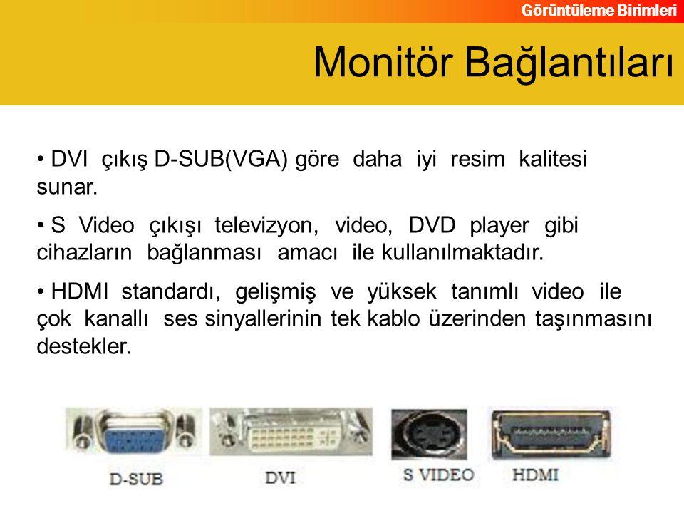 Görüntüleme Birimleri DVI çıkış D-SUB(VGA) göre daha iyi resim kalitesi sunar. S Video çıkışı televizyon, video, DVD player gibi cihazların bağlanması
