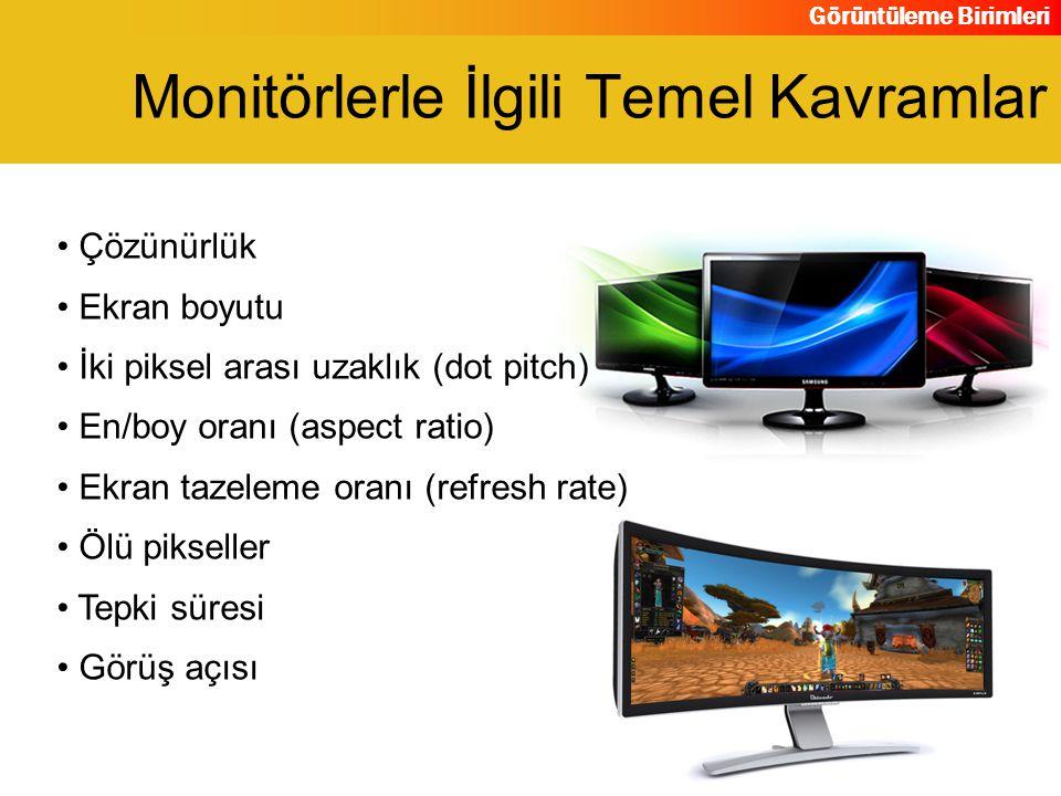 Görüntüleme Birimleri Çözünürlük Ekran boyutu İki piksel arası uzaklık (dot pitch) En/boy oranı (aspect ratio) Ekran tazeleme oranı (refresh rate) Ölü