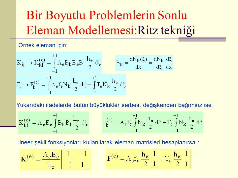 Bir Boyutlu Problemlerin Sonlu Eleman Modellemesi:Ritz tekniği Örnek eleman için: Yukarıdaki ifadelerde bütün büyüklükler serbest değişkenden bağımsız