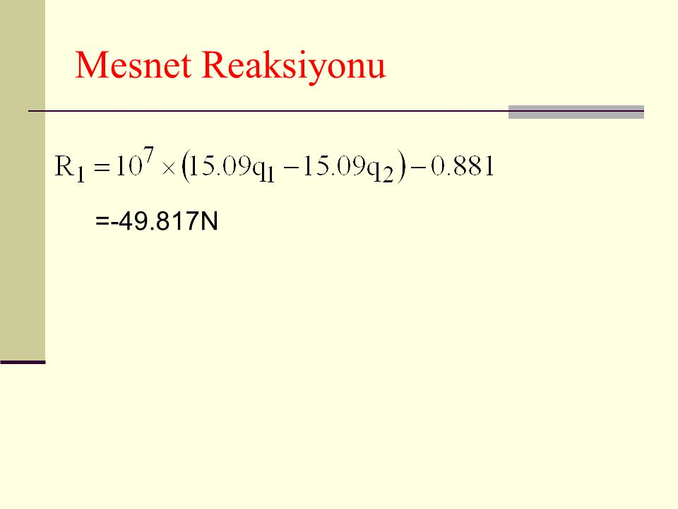 Mesnet Reaksiyonu =-49.817N