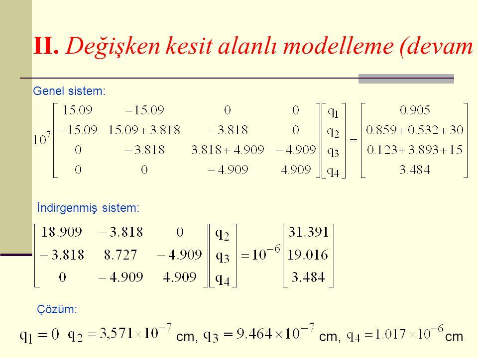 II. Değişken kesit alanlı modelleme (devam Genel sistem: İndirgenmiş sistem: Çözüm: cm, cm