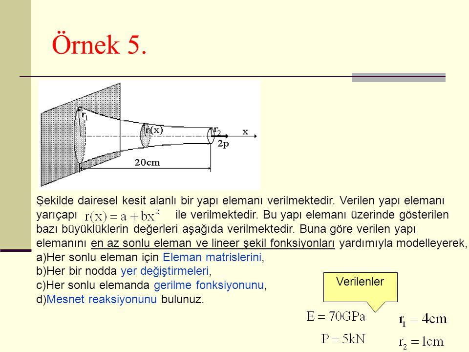 Örnek 5. Şekilde dairesel kesit alanlı bir yapı elemanı verilmektedir. Verilen yapı elemanı yarıçapı ile verilmektedir. Bu yapı elemanı üzerinde göste
