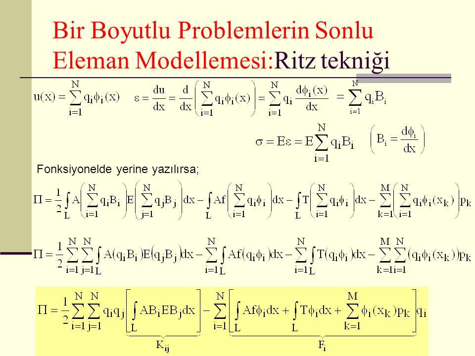 Bir Boyutlu Problemlerin Sonlu Eleman Modellemesi:Ritz tekniği veya Ritz tekniği gereği bilinmeyenlere göre türev alınarak sıfıra eşitlenirse: