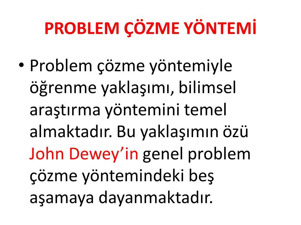 PROBLEM ÇÖZME YÖNTEMİ Problem çözme yöntemiyle öğrenme yaklaşımı, bilimsel araştırma yöntemini temel almaktadır. Bu yaklaşımın özü John Dewey'in genel