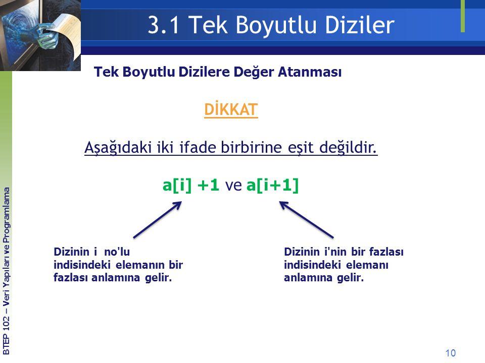 10 3.1 Tek Boyutlu Diziler Tek Boyutlu Dizilere Değer Atanması DİKKAT Aşağıdaki iki ifade birbirine eşit değildir. a[i] +1 ve a[i+1] Dizinin i no'lu i