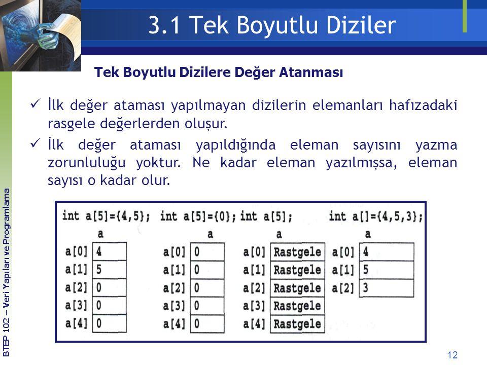 12 3.1 Tek Boyutlu Diziler Tek Boyutlu Dizilere Değer Atanması İlk değer ataması yapılmayan dizilerin elemanları hafızadaki rasgele değerlerden oluşur