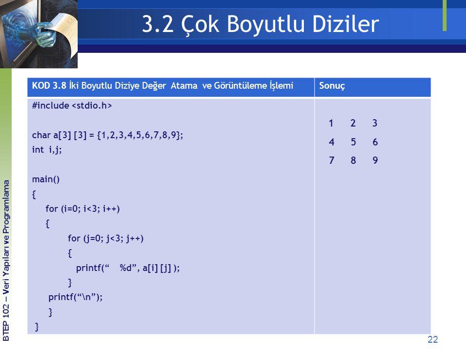 22 3.2 Çok Boyutlu Diziler KOD 3.8 İki Boyutlu Diziye Değer Atama ve Görüntüleme İşlemiSonuç #include char a[3] [3] = {1,2,3,4,5,6,7,8,9}; int i,j; ma