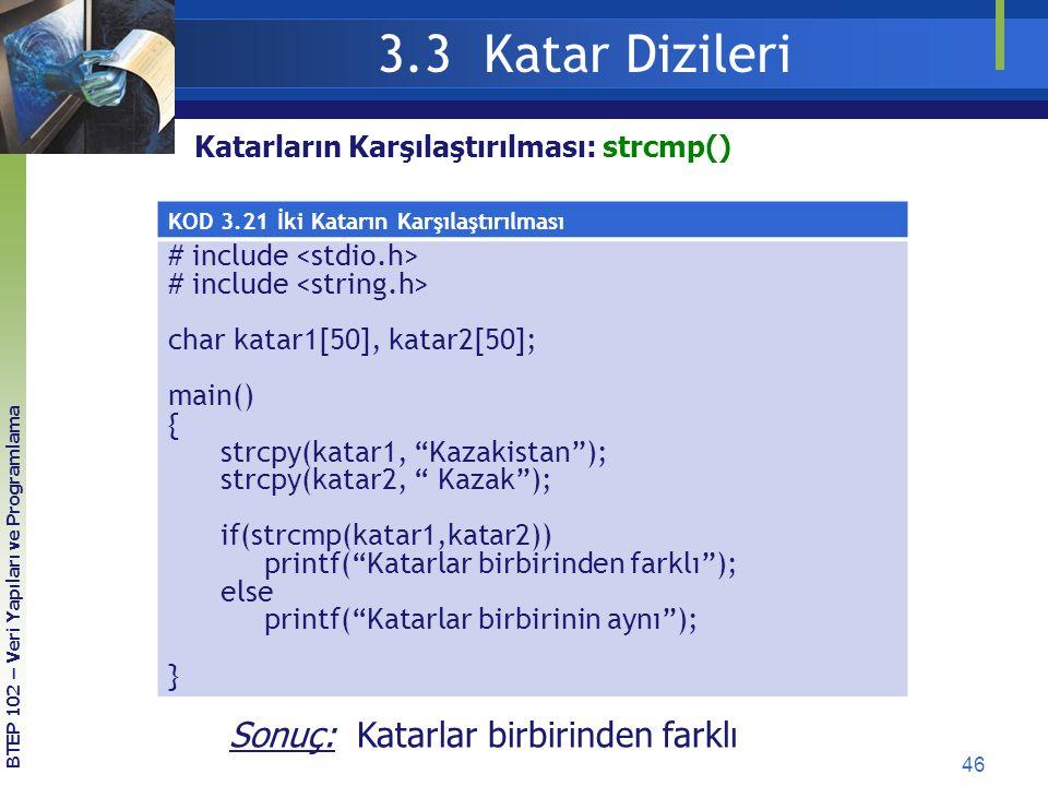 46 3.3 Katar Dizileri BTEP 102 – Veri Yapıları ve Programlama KOD 3.21 İki Katarın Karşılaştırılması # include char katar1[50], katar2[50]; main() { s