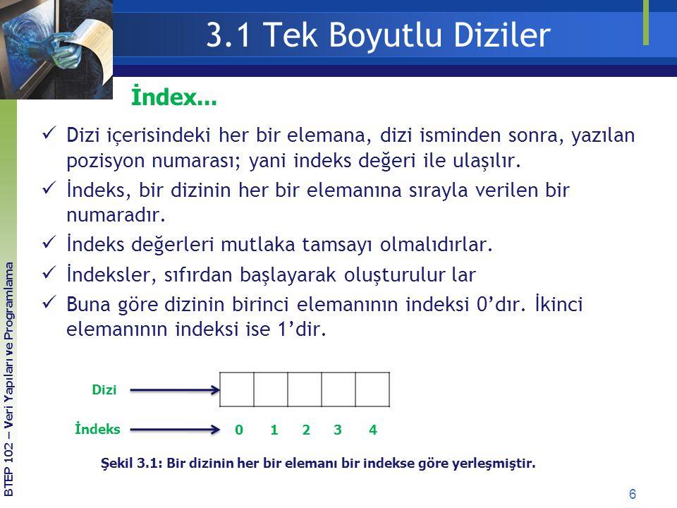 3.1 Tek Boyutlu Diziler 6 BTEP 102 – Veri Yapıları ve Programlama Dizi içerisindeki her bir elemana, dizi isminden sonra, yazılan pozisyon numarası; y