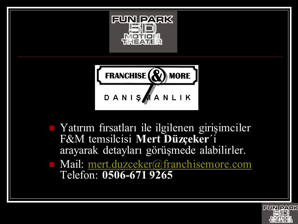 Yatırım fırsatları ile ilgilenen girişimciler F&M temsilcisi Mert Düzçeker´i arayarak detayları görüşmede alabilirler.