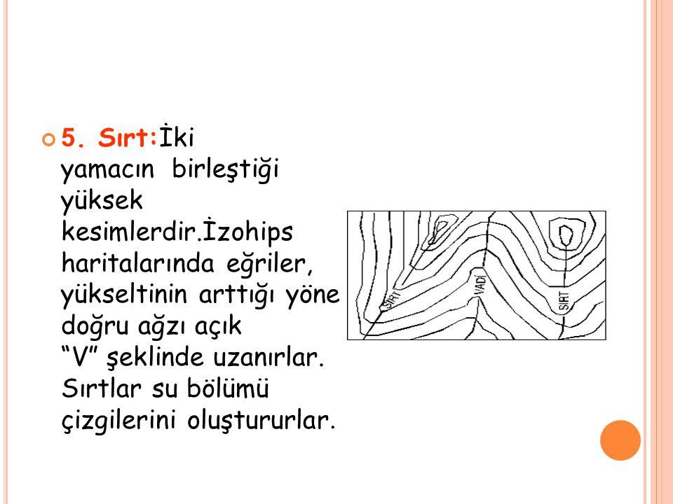"""5. Sırt:İki yamacın birleştiği yüksek kesimlerdir.İzohips haritalarında eğriler, yükseltinin arttığı yöne doğru ağzı açık """"V"""" şeklinde uzanırlar. Sırt"""