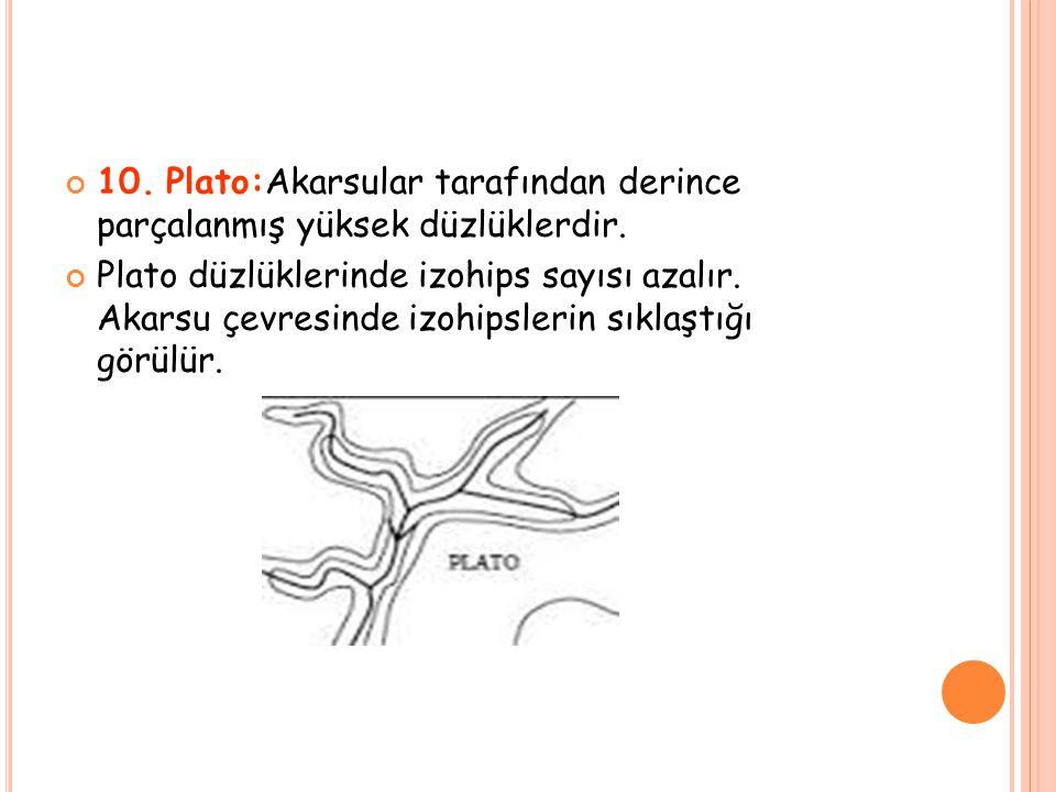 10. Plato:Akarsular tarafından derince parçalanmış yüksek düzlüklerdir. Plato düzlüklerinde izohips sayısı azalır. Akarsu çevresinde izohipslerin sıkl
