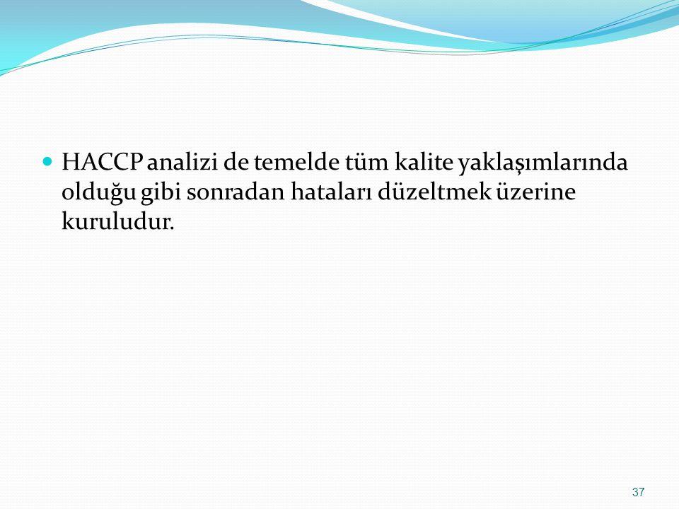 HACCP analizi de temelde tüm kalite yaklaşımlarında olduğu gibi sonradan hataları düzeltmek üzerine kuruludur.