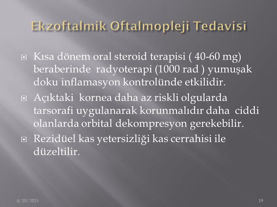  Kısa dönem oral steroid terapisi ( 40-60 mg) beraberinde radyoterapi (1000 rad ) yumuşak doku inflamasyon kontrolünde etkilidir.  Açıktaki kornea d