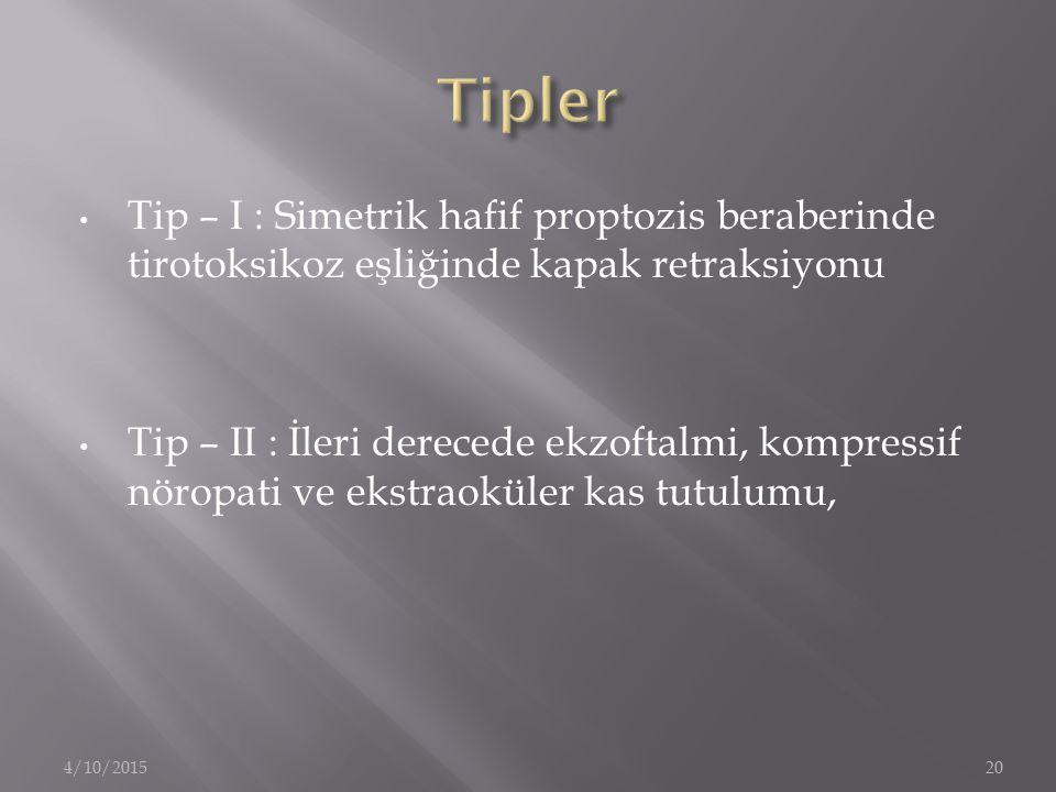 Tip – I : Simetrik hafif proptozis beraberinde tirotoksikoz eşliğinde kapak retraksiyonu Tip – II : İleri derecede ekzoftalmi, kompressif nöropati ve