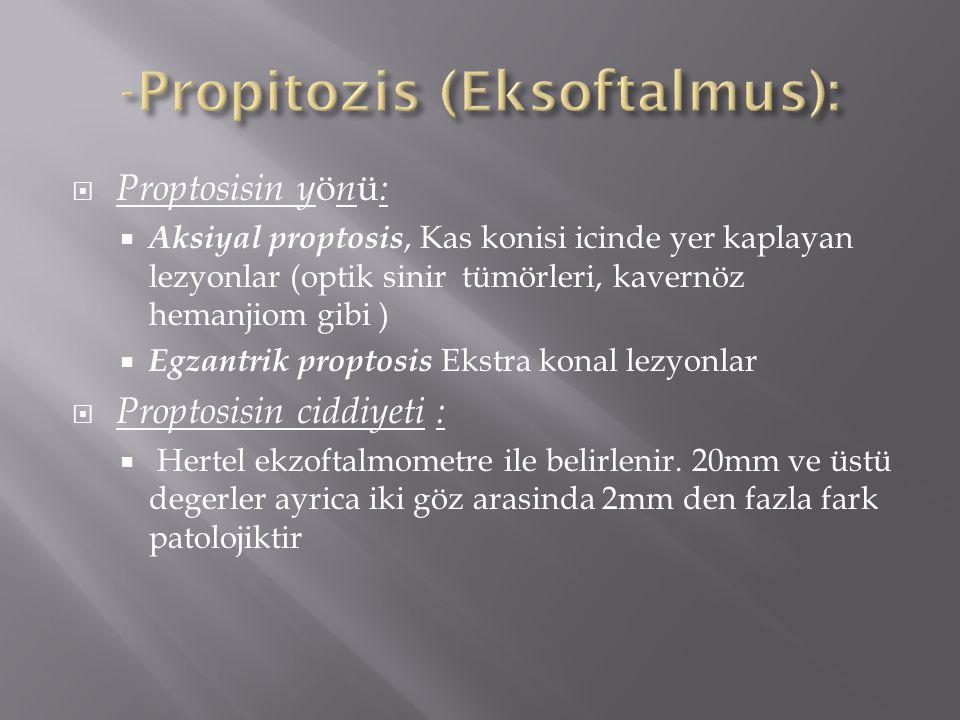  Proptosisin y ö n ü :  Aksiyal proptosis, Kas konisi icinde yer kaplayan lezyonlar (optik sinir tümörleri, kavernöz hemanjiom gibi )  Egzantrik pr
