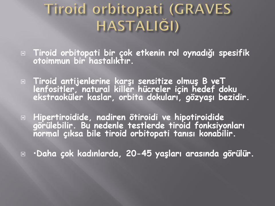  Tiroid orbitopati bir çok etkenin rol oynadığı spesifik otoimmun bir hastalıktır.  Tiroid antijenlerine karşı sensitize olmuş B veT lenfositler, na