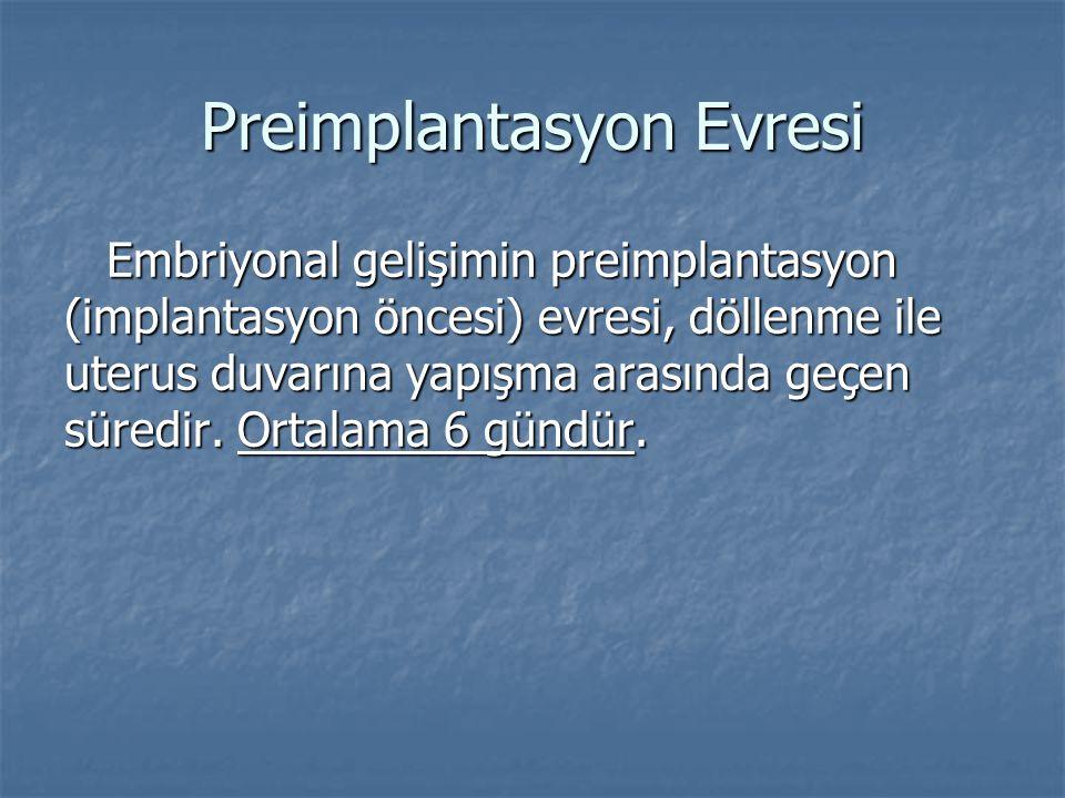 Preimplantasyon Evresi Embriyonal gelişimin preimplantasyon (implantasyon öncesi) evresi, döllenme ile uterus duvarına yapışma arasında geçen süredir.