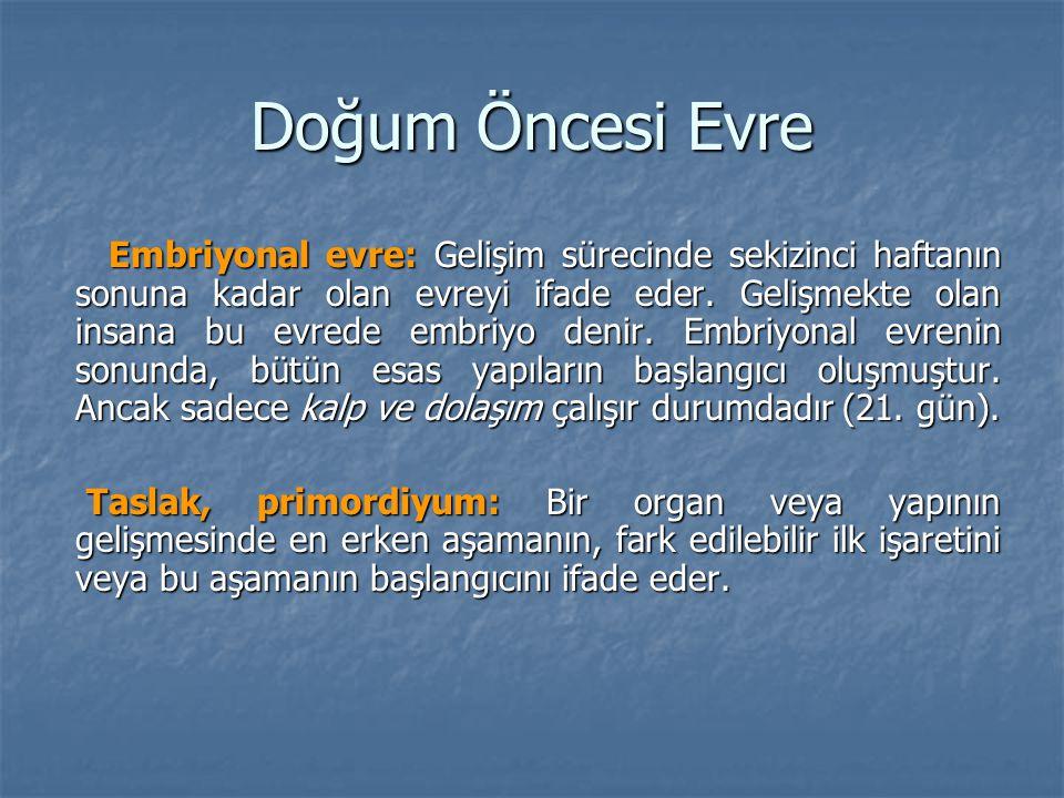 Doğum Öncesi Evre Embriyonal evre: Gelişim sürecinde sekizinci haftanın sonuna kadar olan evreyi ifade eder. Gelişmekte olan insana bu evrede embriyo