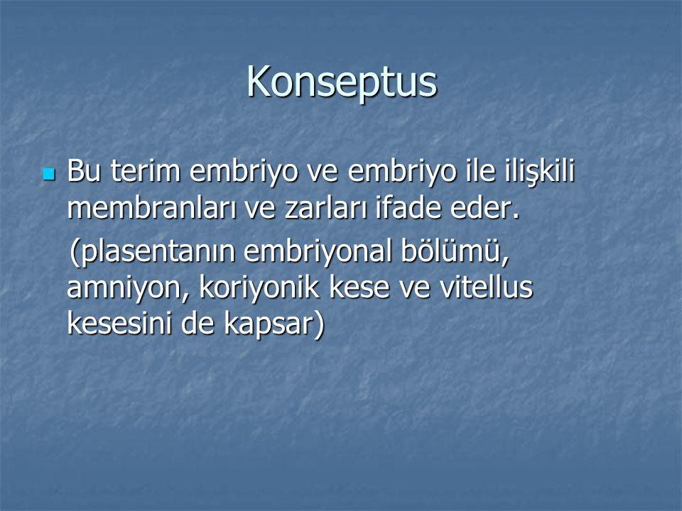 Konseptus Bu terim embriyo ve embriyo ile ilişkili membranları ve zarları ifade eder.
