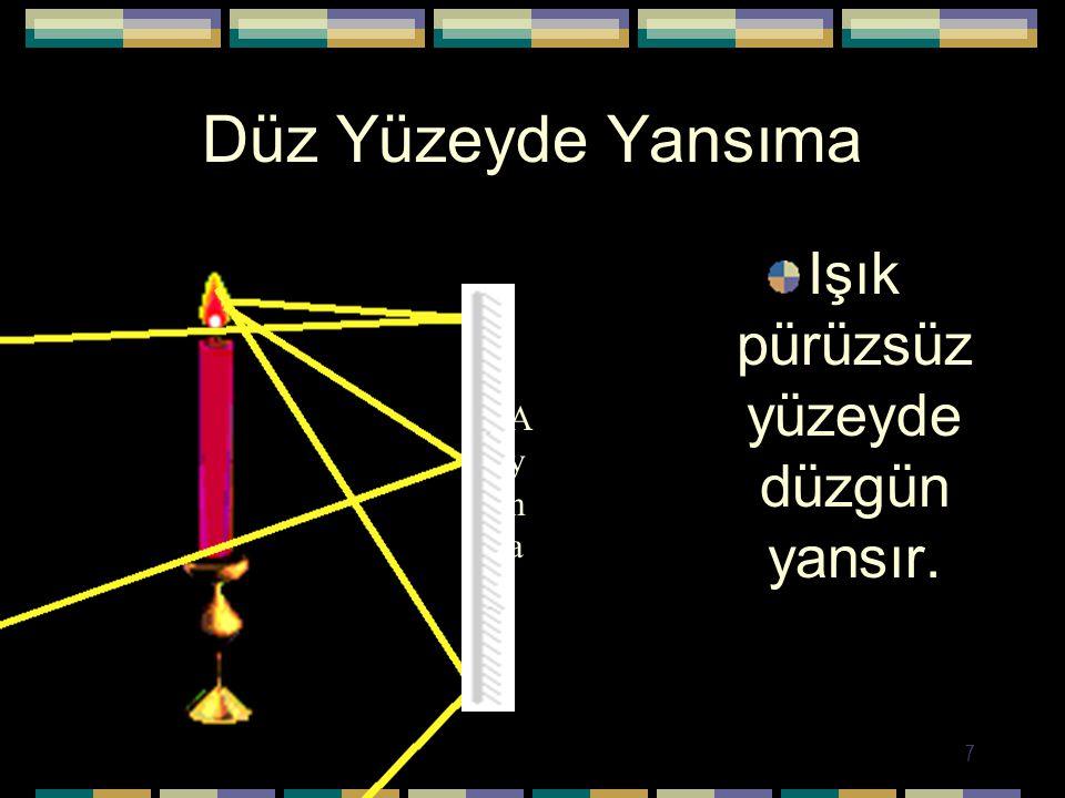 7 Düz Yüzeyde Yansıma Işık pürüzsüz yüzeyde düzgün yansır. AynaAyna