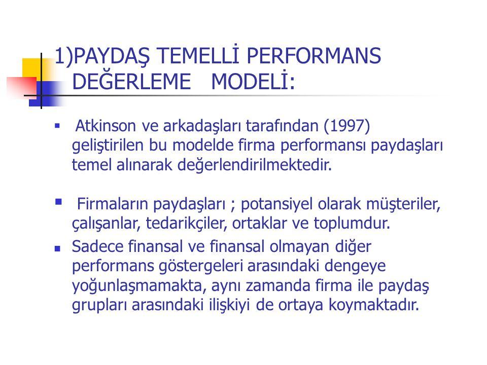 1)PAYDAŞ TEMELLİ PERFORMANS DEĞERLEME MODELİ:  Atkinson ve arkadaşları tarafından (1997) geliştirilen bu modelde firma performansı paydaşları temel a