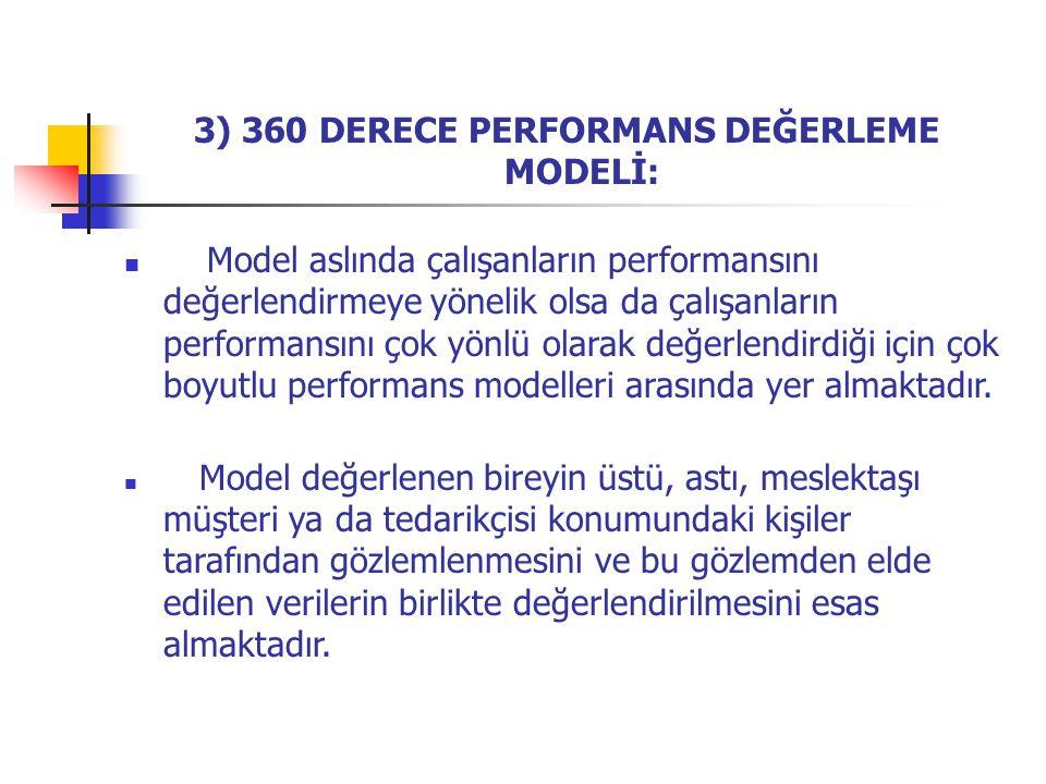 3) 360 DERECE PERFORMANS DEĞERLEME MODELİ: Model aslında çalışanların performansını değerlendirmeye yönelik olsa da çalışanların performansını çok yön