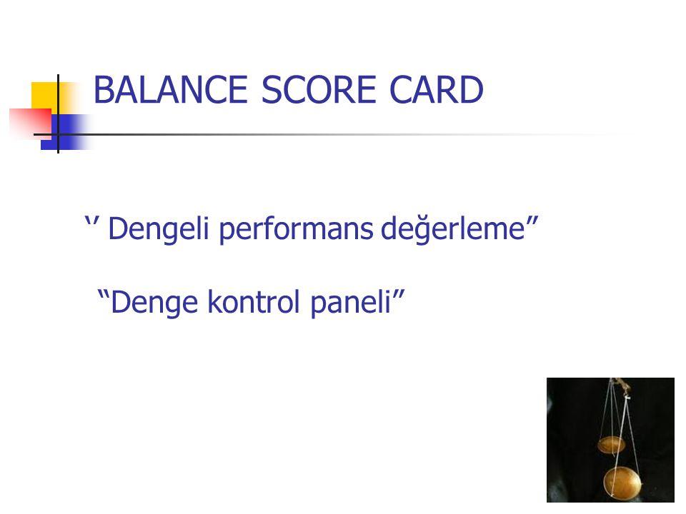 """BALANCE SCORE CARD '' Dengeli performans değerleme"""" """"Denge kontrol paneli"""""""