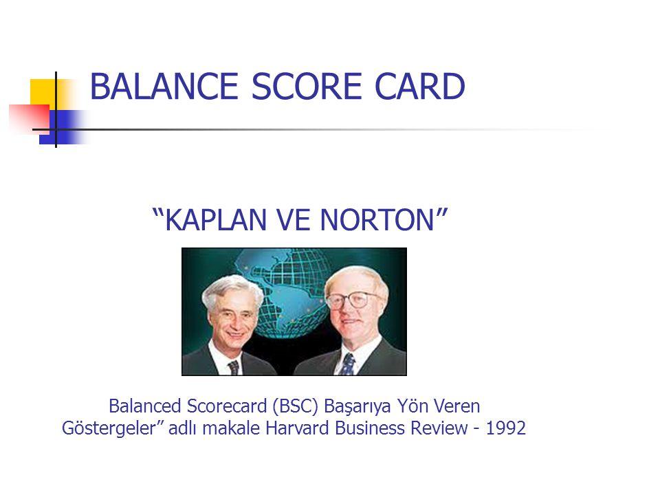 """BALANCE SCORE CARD """"KAPLAN VE NORTON"""" Balanced Scorecard (BSC) Başarıya Yön Veren Göstergeler"""" adlı makale Harvard Business Review - 1992"""