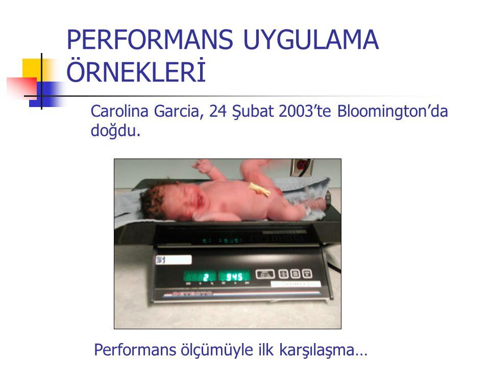PERFORMANS UYGULAMA ÖRNEKLERİ Carolina Garcia, 24 Şubat 2003'te Bloomington'da doğdu. Performans ölçümüyle ilk karşılaşma…